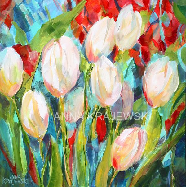 WHITE TULIPS - Artfest Ontario - Anna Krajewski - Paintings