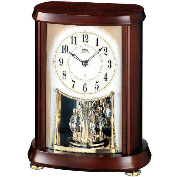 AHW566B Alder Wood Clock with Swarovski Crystals Pendulum