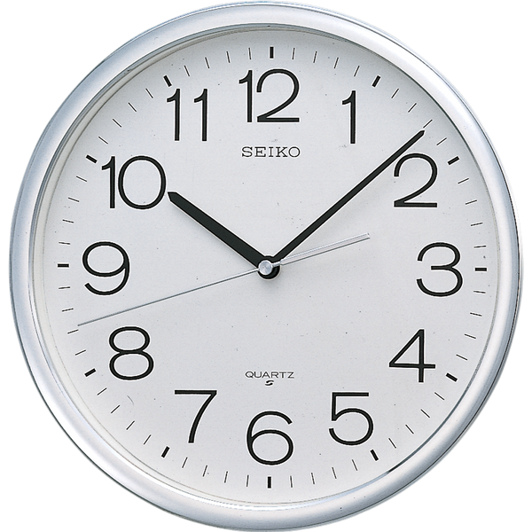 Metallic Silver Case Wall Clock. White clean dial for home and office.