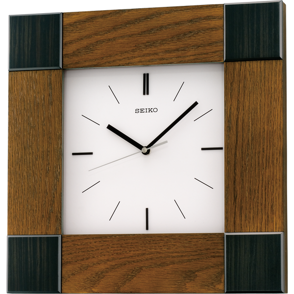 Square shaped Wooden case with Ash & Ebony pattern veneer and white dial clock for homes, office, lobby, restaurants & hotels in India