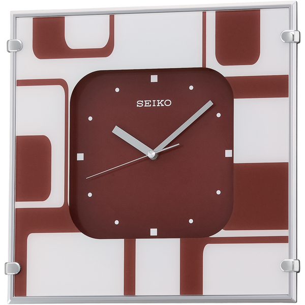Contemporary Wall clock with red dial and square shaped case QXA475R