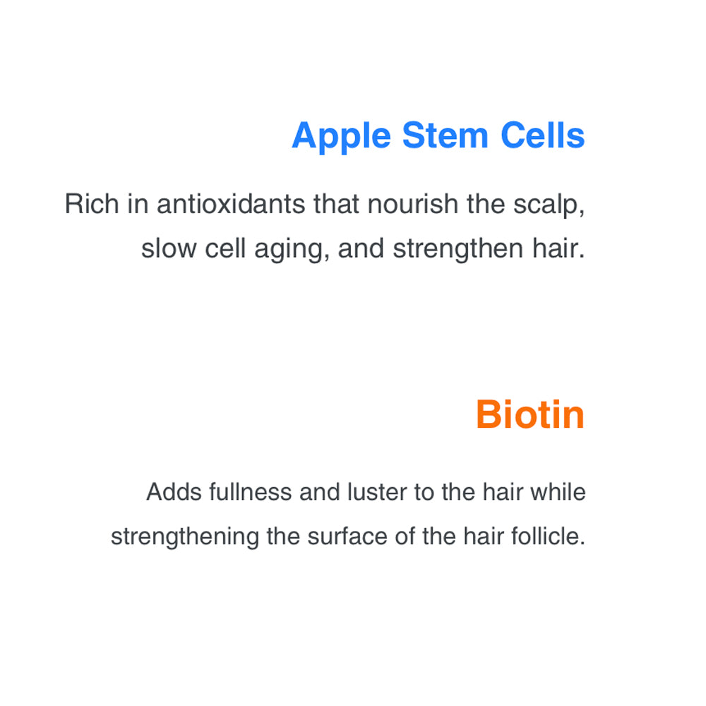 Apple Stem Cells Rich in antioxidants that nourish the scalp, slow cell aging, and strengthen hair. Biotin Adds fullness and luster to the hair while strengthening the surface of the hair follicle.