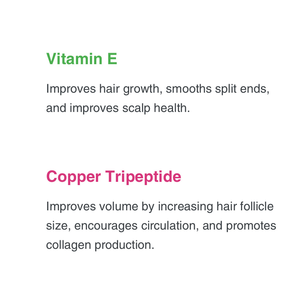 Vitamin E Improves hair growth, smooths split ends, and improves scalp health. Copper Tripeptide Improves volume by increasing hair follicle size, encourages circulation, and promotes collagen production.