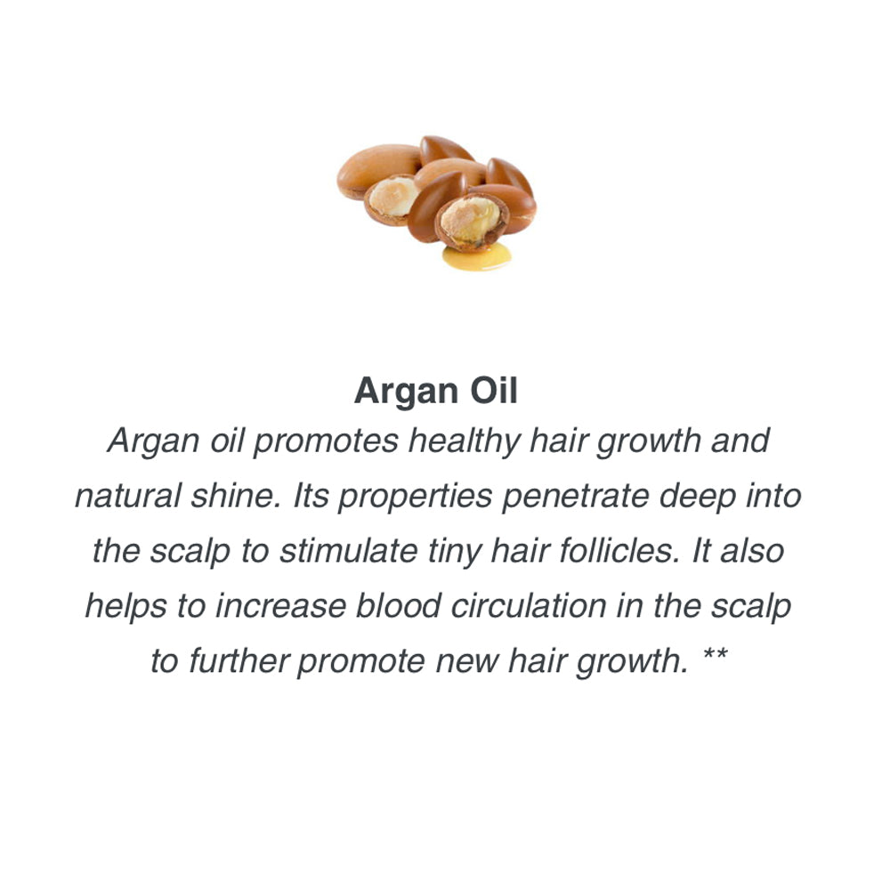 Argan oil promotes healthy hair growth and natural shine. Its properties penetrate deep into the scalp to stimulate tiny hair follicles. It also helps to increase blood circulation in the scalp to further promote new hair growth. **