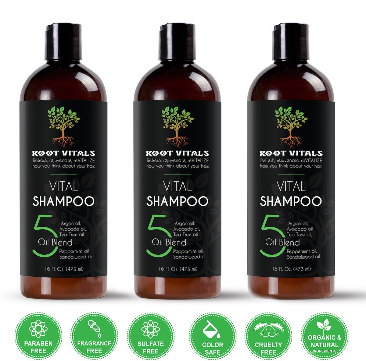 Vital Shampoo for Natural Hair Growth and Shampoo for thinning hair  3 bottles