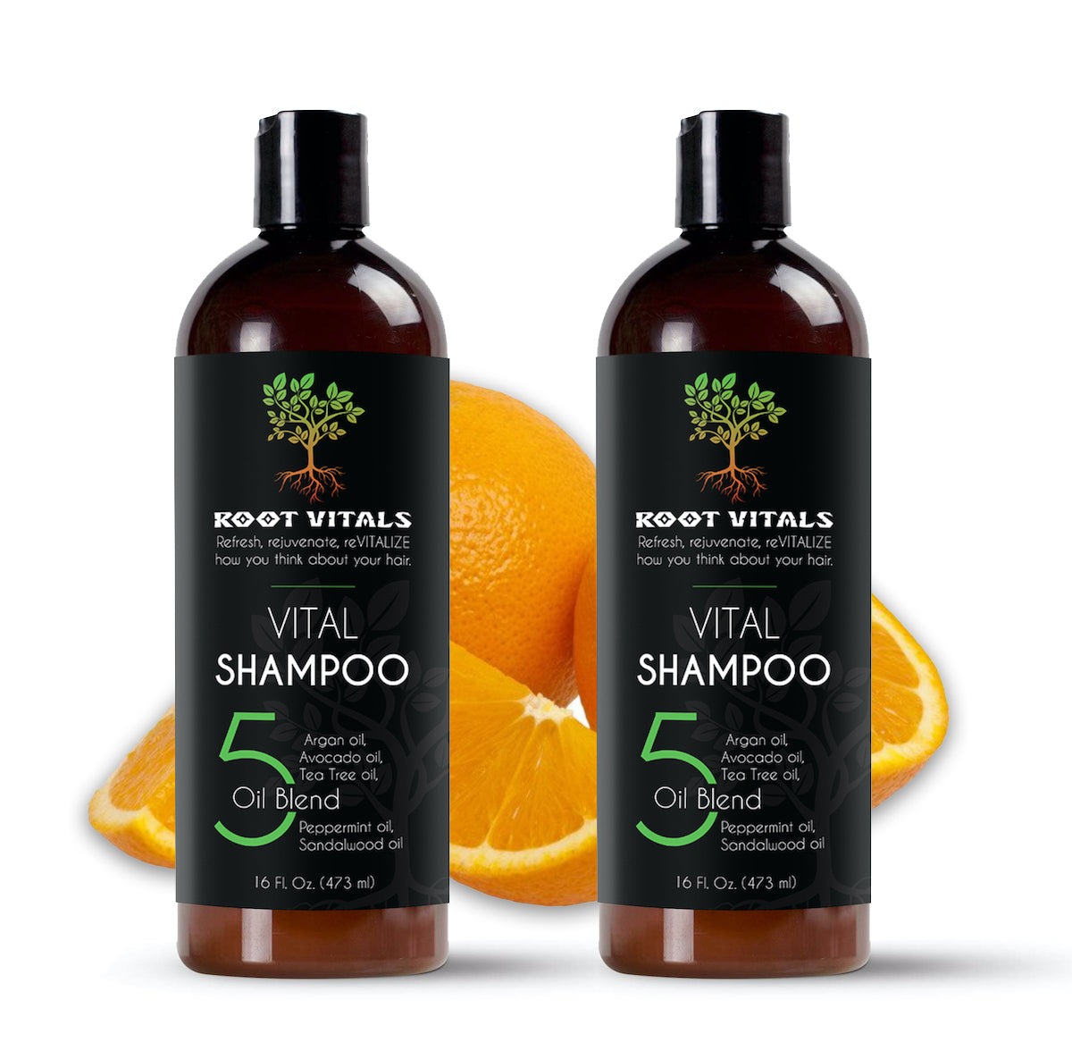 Two 160 Orange scented ounce bottles of Natural Hair Growth Shampoo
