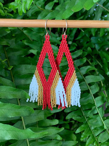 Red and 14kt Gold Plated Beaded Earrings