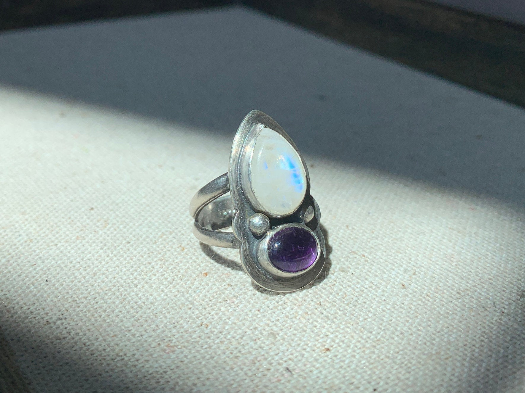 Rainbow Moonstone and Amethyst Ring