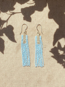 Sky Blue Rectangle Fringe Earrings