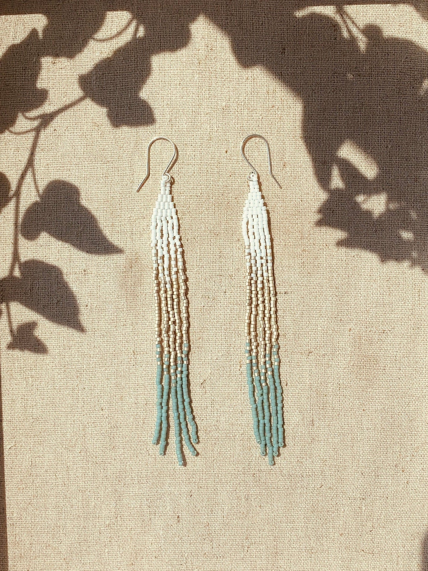Sea Foam Beaded Shoulder Dusters