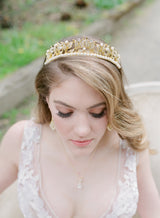 VICTORIA Gold Swarovski Crystal and Faux Pearl Bridal Tiara