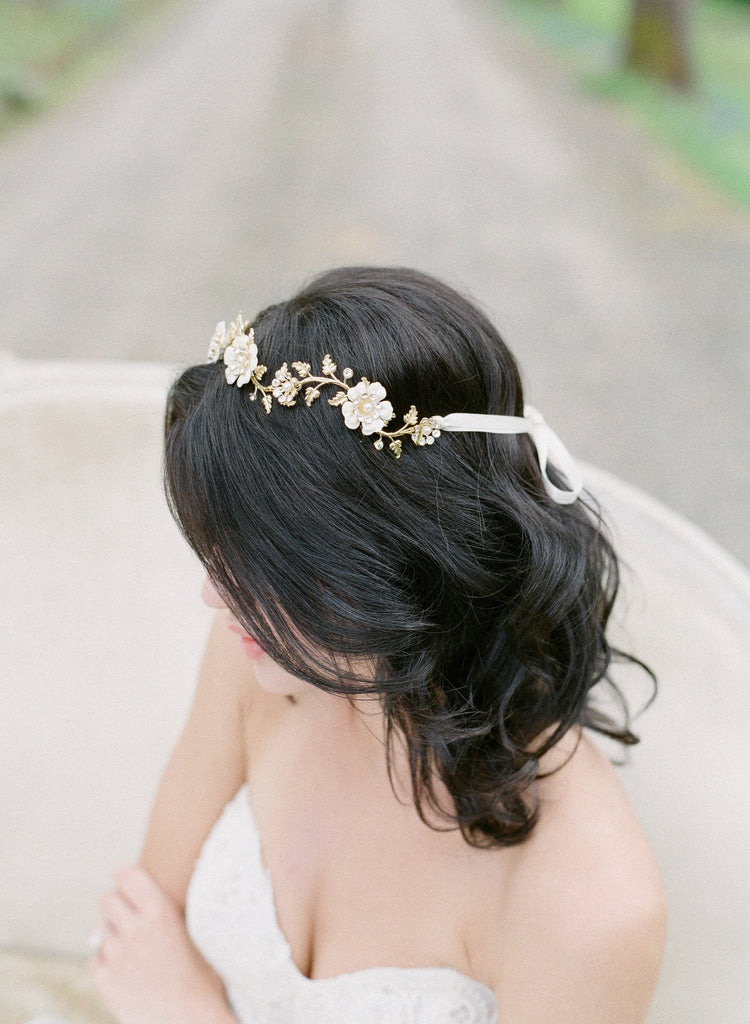 BRIA Floral Bridal Headpiece Tiara