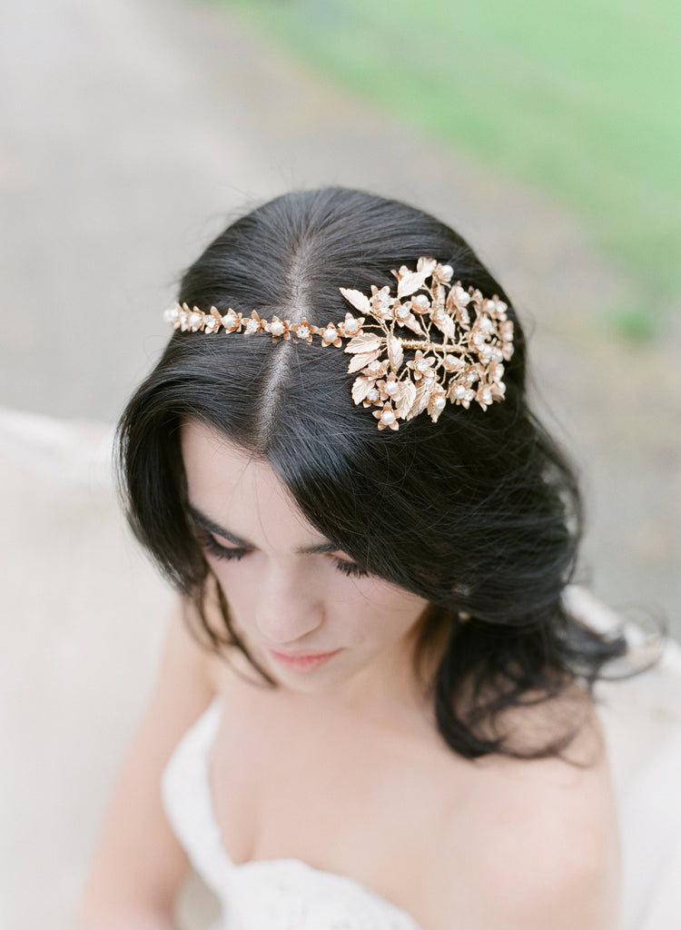 Bride wearing Addison brass leaf headpiece wedding crown.
