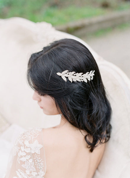 WILLOW Swarovski Crystal Leaf Headpiece