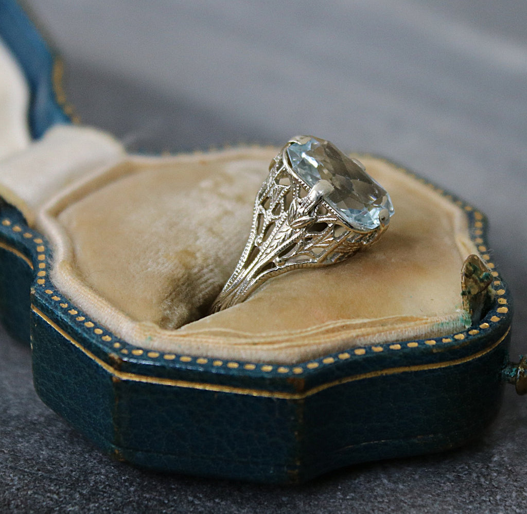 ABERDEEN Aquamarine Vintage Engagement Ring 3.29
