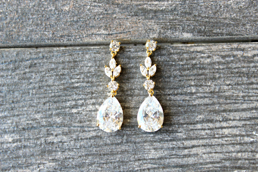 ADELIE Silver Simulated Diamond Drop Earrings