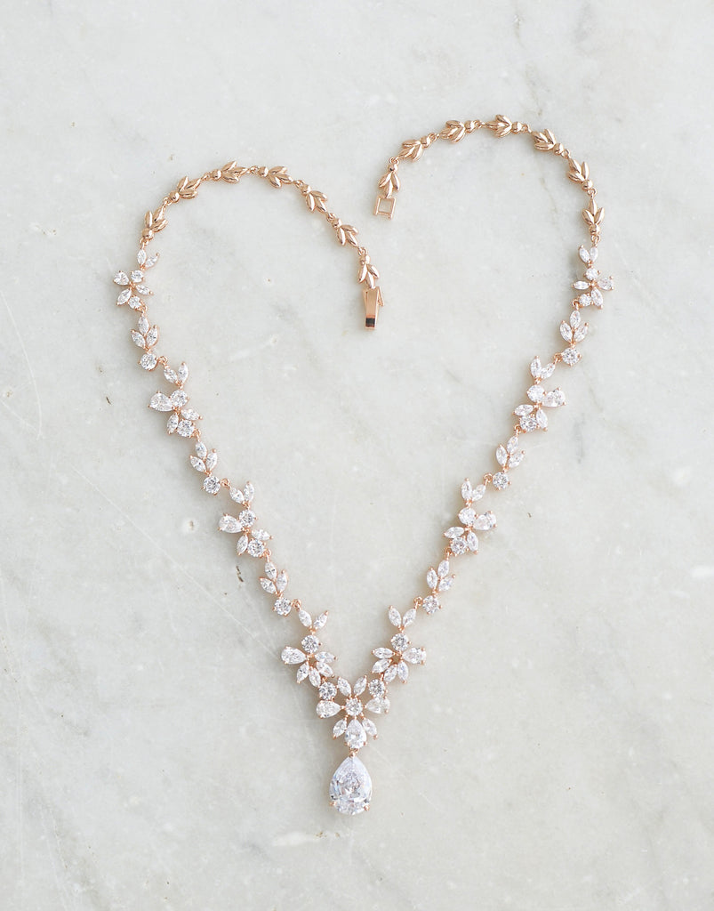 ADELIE Rose Gold Simulated Diamond Necklace and Earrings Set