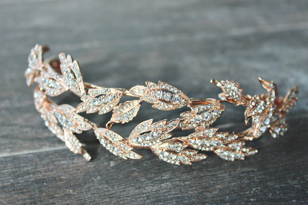 ALESIA Silver Bridal Headpiece Swarovski Crystal Leaves Tiara