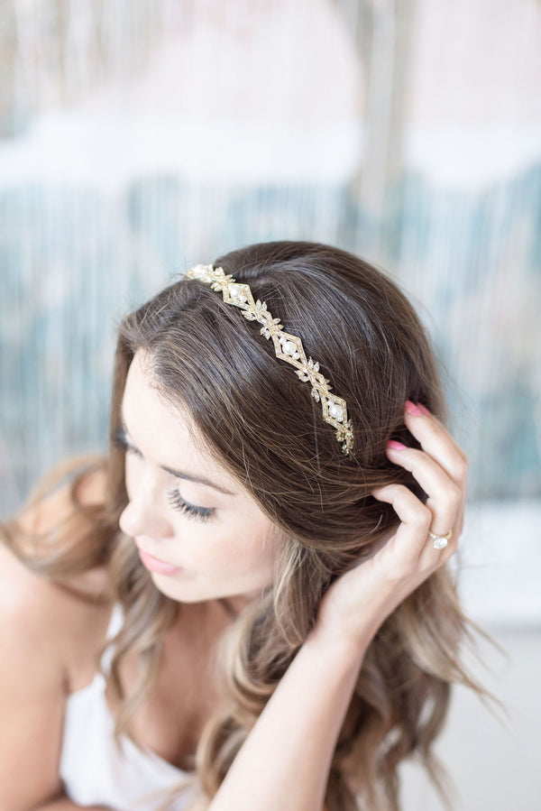 ALIX Gold Crystal and Pearl Bridal Headband Tiara