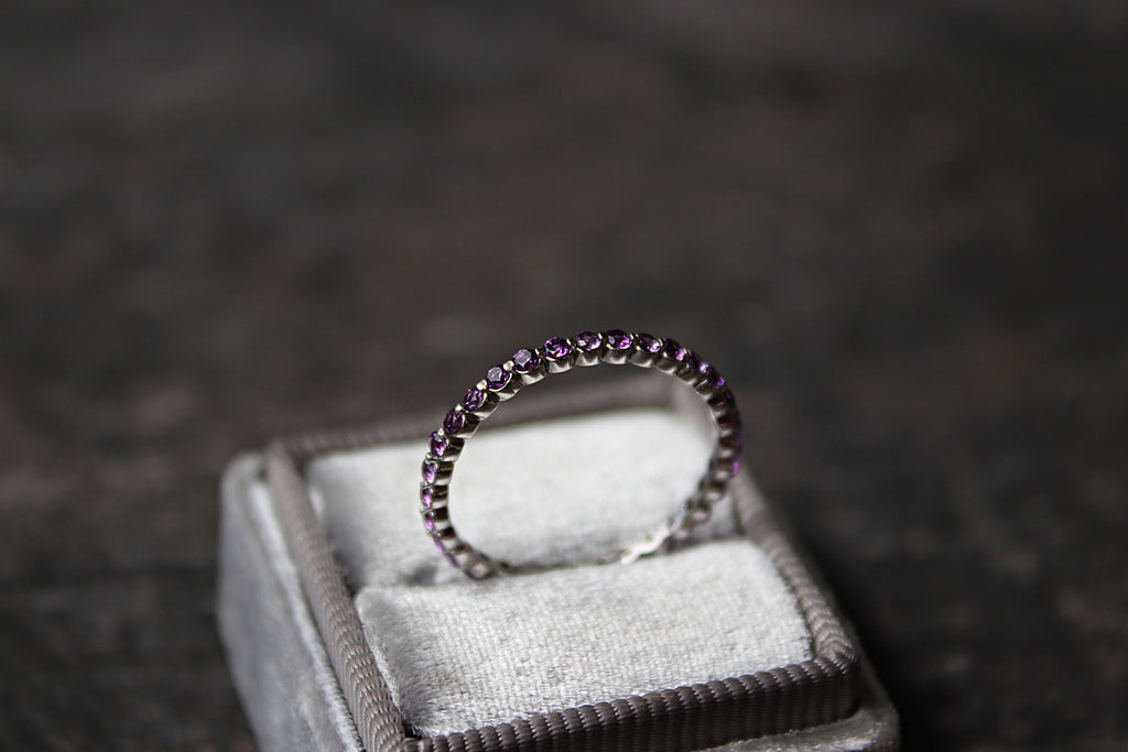 Amethyst Eternity Band in Mrs Box