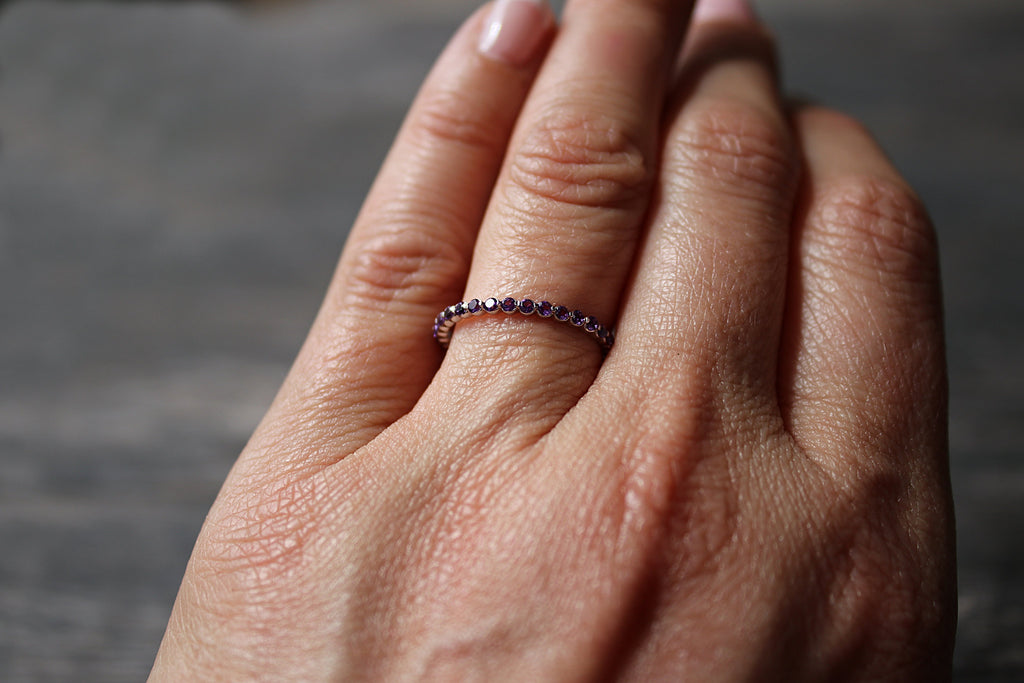 Amethyst Stackable on Finger