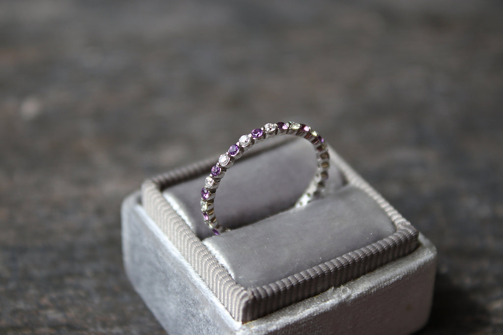 AMETHYST and DIAMOND Stackable Eternity Band