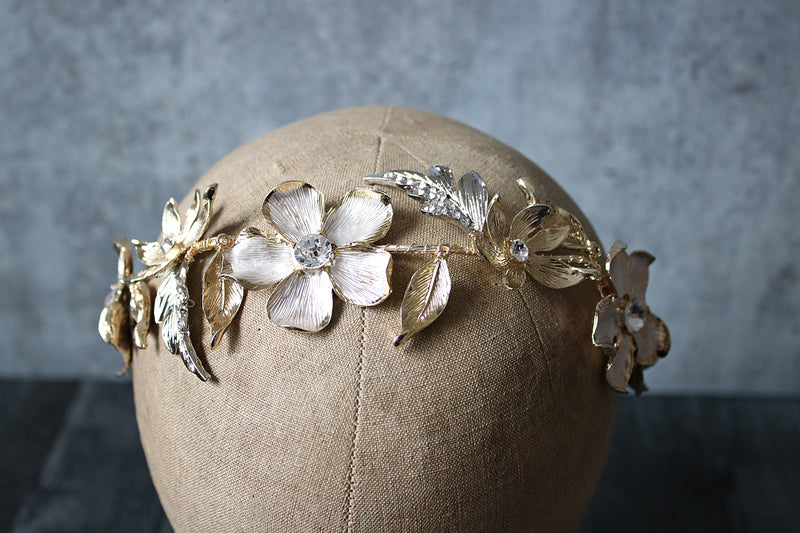 ANNETTE Silver and Gold Floral Bridal Hair Vine Headpiece