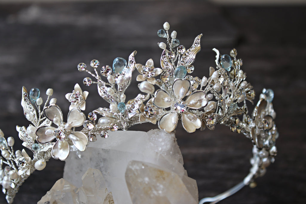 GENEVIEVE Tiara with Genuine Aquamarine Briolettes