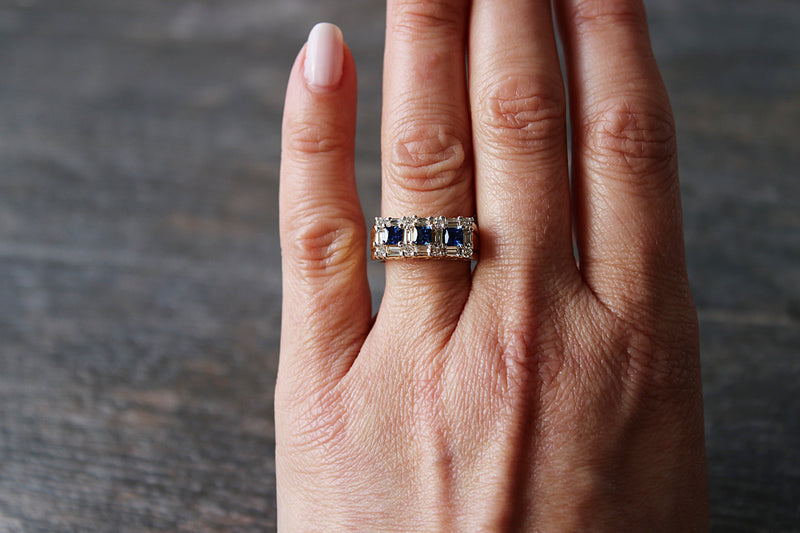 ARBOIS Sapphire and Diamond Wedding Band