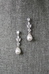 BLAISE Simulated Diamond and Pearl Drop Earrings
