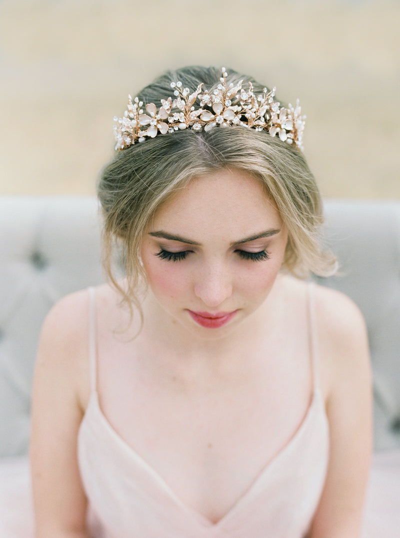GENEVIEVE Tiara with Genuine Aquamarine Gemstone Briolettes