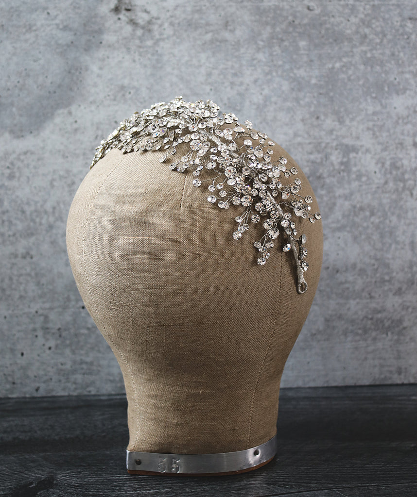 CHARMAINE Wide Swarovski Crystal Headpiece