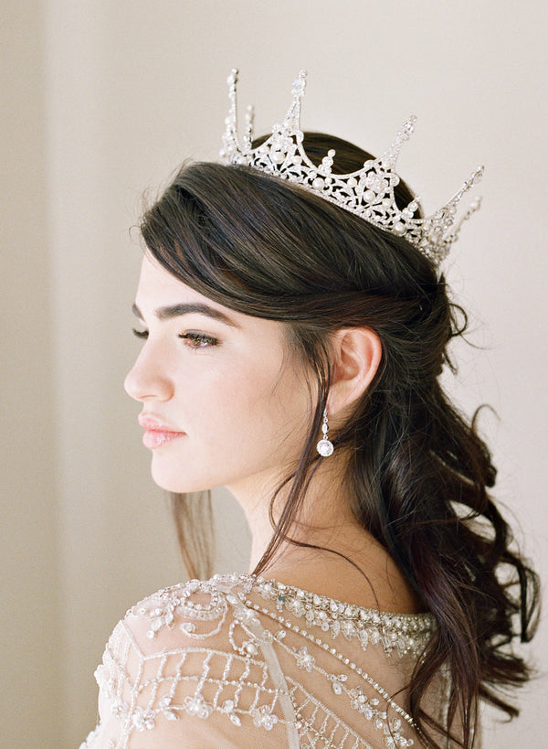 CHARMAINE Full Wedding Crown and Earrings Suite