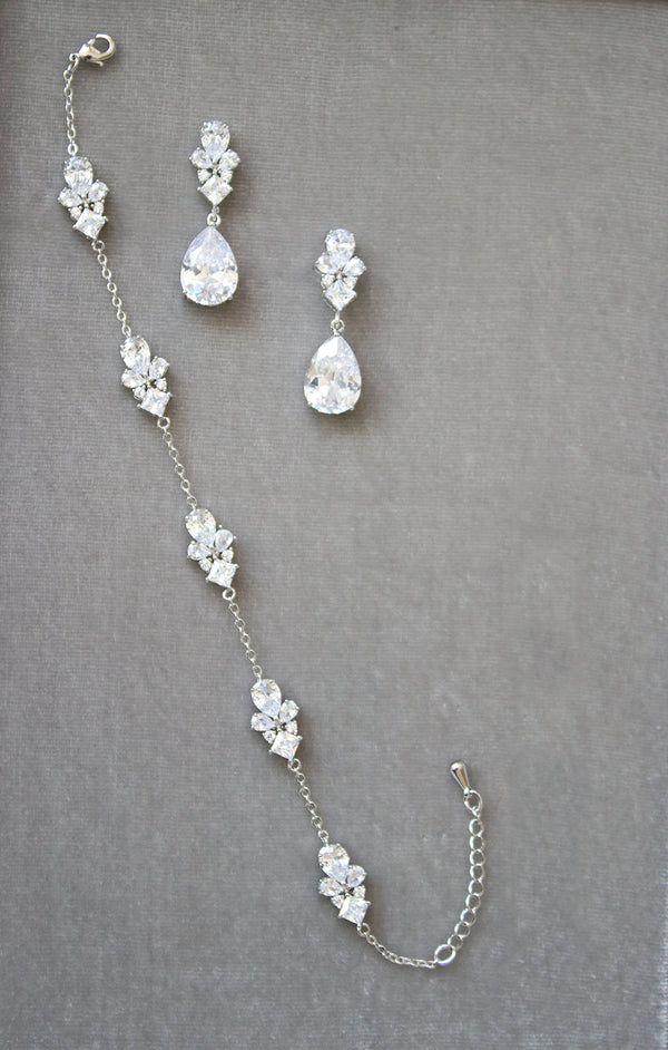 CHERIE Simulated Diamonds Earrings and Bracelet Set