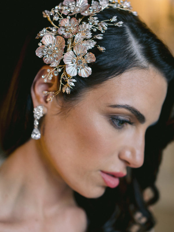 NOEMI Rose Gold Floral Bridal Headpiece