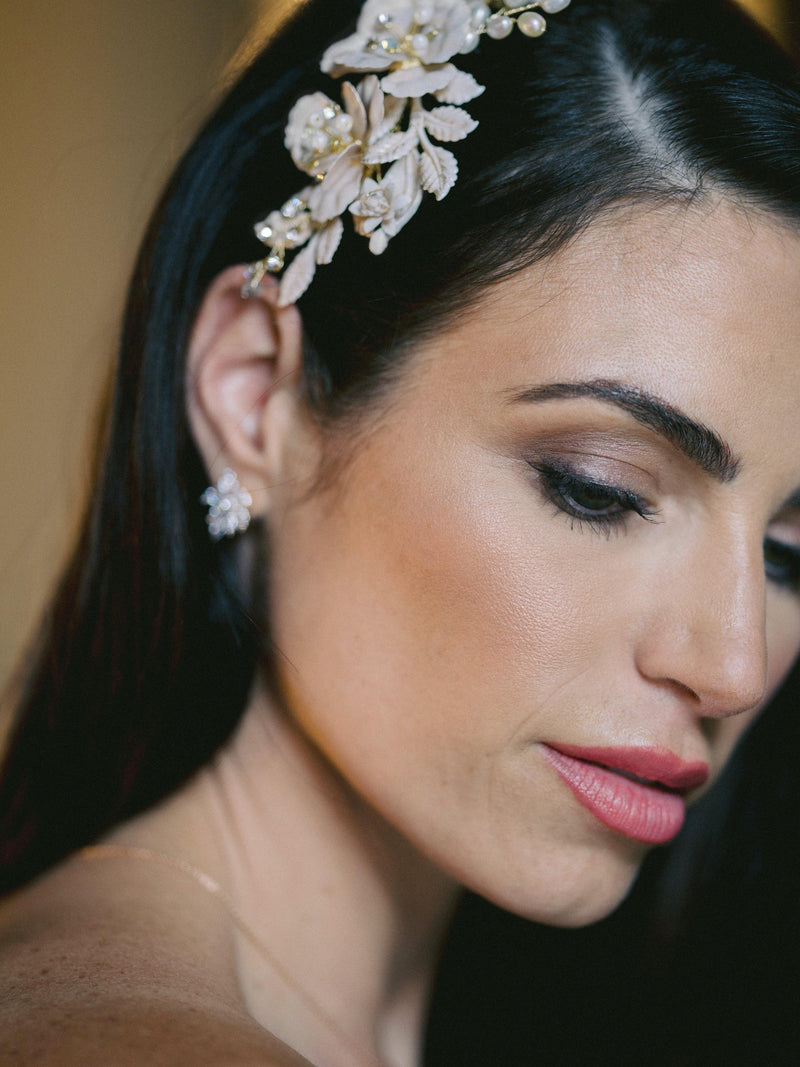 MADELINA Blush Floral Wedding Headpiece