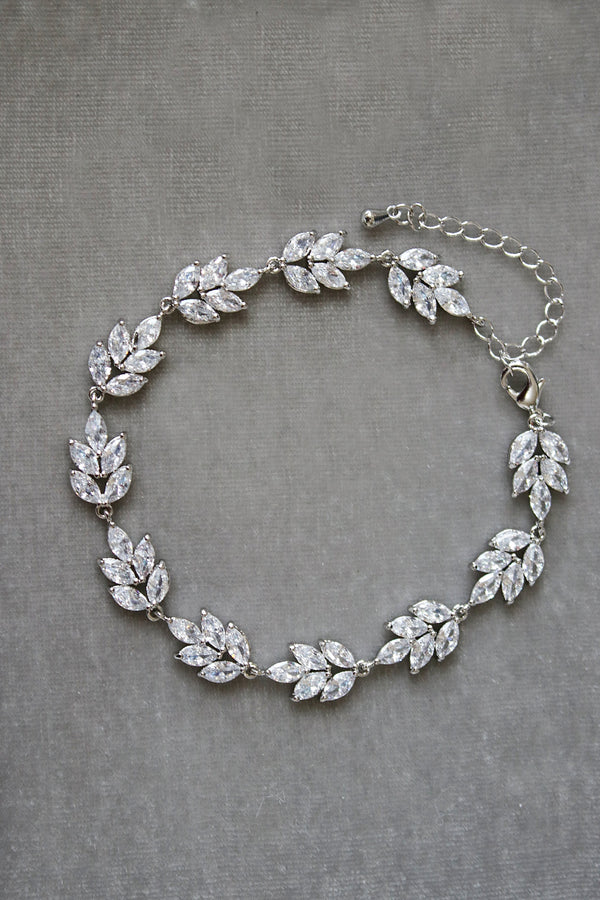 CRESSIDA Silver Simulated Diamond Marquise Cluster Bridal Bracelet