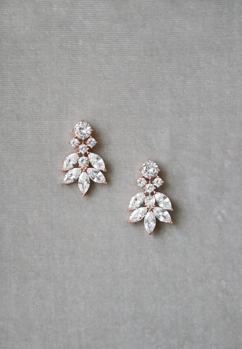 CRESSIDA Rose Gold Simulated Diamond Cluster Earrings