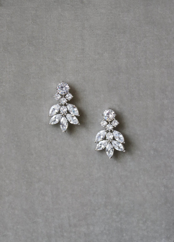 CRESSIDA Silver Simulated Diamond Cluster Earrings