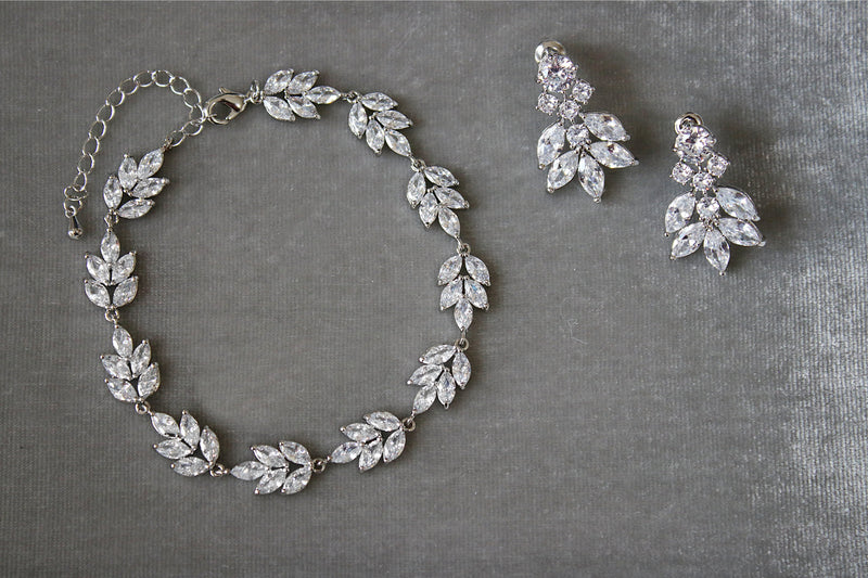 Silver Cluster Earrings and Bracelet | EDEN LUXE Bridal