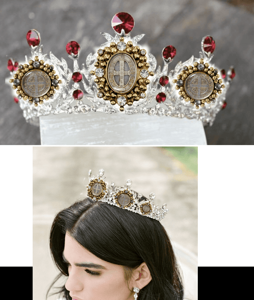 Bespoke TANYA Mardi Gras Queen Crown with 5 Medallions