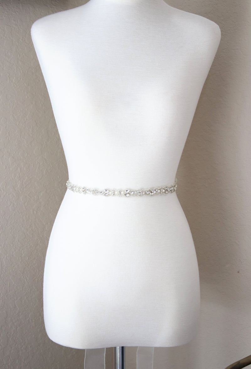 DAPHNE Crystal and Pearl Bridal Belt
