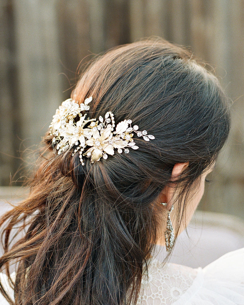 Side view of Gold Floral Bridal Headpiece