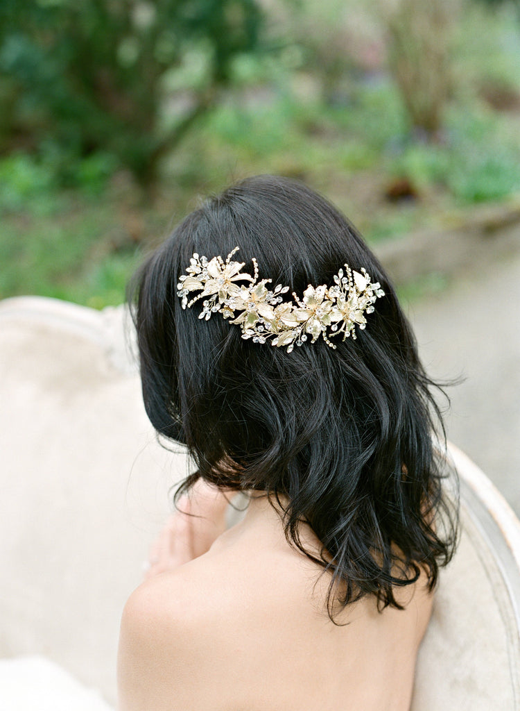 Bride Wearing Gold Headpiece