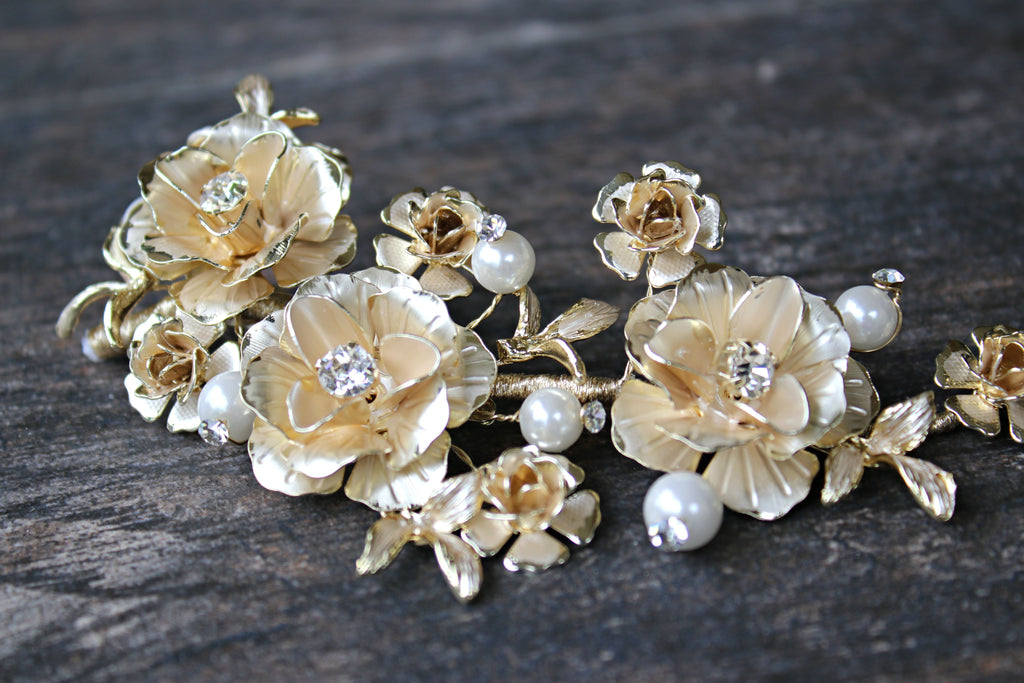 ELLE Gold Floral Bridal Headpiece