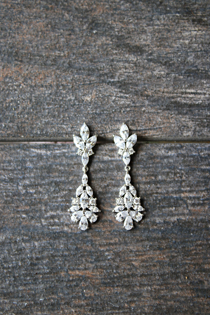 Cubic Zirconia Drop Earrings for Bride