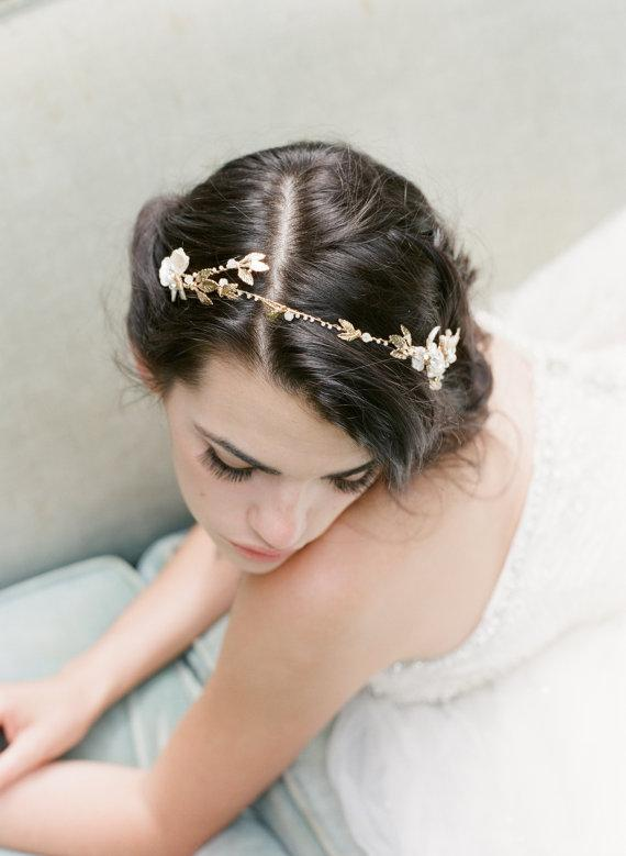 EMMA ANNE Gilded Leaves Bridal Headband