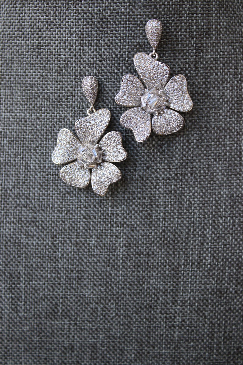 FLORA Silver Blossom Bridal Earrings