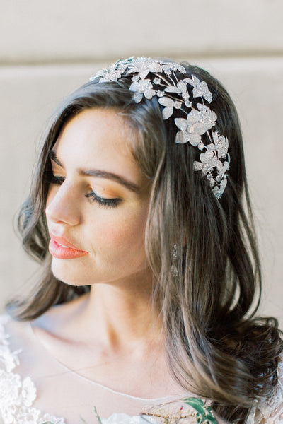 ZOE Floral Simulated Diamond Headpiece