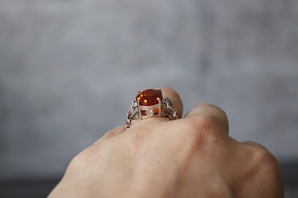 FLORENCE Mandarin Garnet and Diamond Engagement Ring 9.06